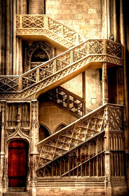 Cathedral Stairs, Rouen, France