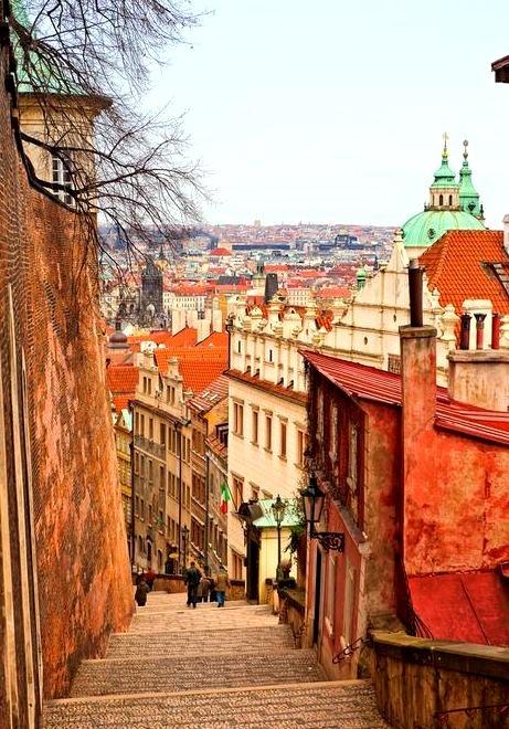 Steep Stairs, Prague, Czech Republic